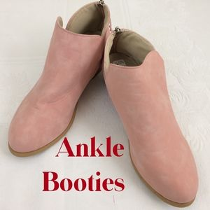 Faux Suede Pink Ankle Booties